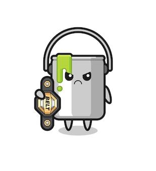 Pinte o mascote de lata como um lutador de mma com o cinto de campeão, design de estilo fofo para camiseta, adesivo, elemento de logotipo