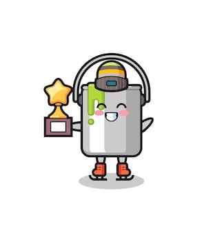 Pinte um desenho animado de lata enquanto um jogador de patinação no gelo segura o troféu de vencedor, design de estilo fofo para camiseta, adesivo, elemento de logotipo