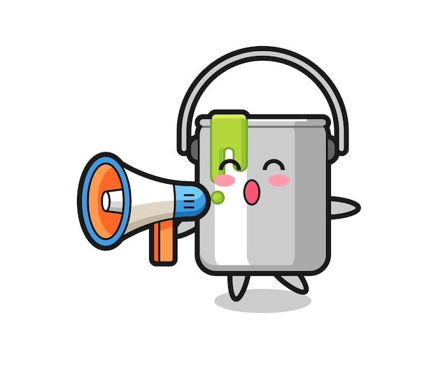 Pinte uma ilustração de personagem de lata segurando um megafone, design de estilo fofo para camiseta, adesivo, elemento de logotipo