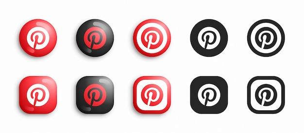 Pinterest moderno 3d e conjunto de ícones plana