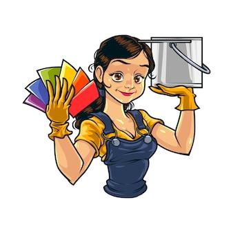 Pintor de parede feminino dos desenhos animados