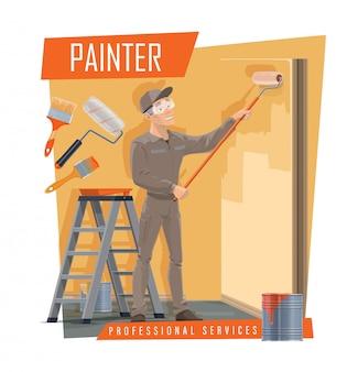 Pintor de paredes com ferramentas de trabalho, serviço de pintura