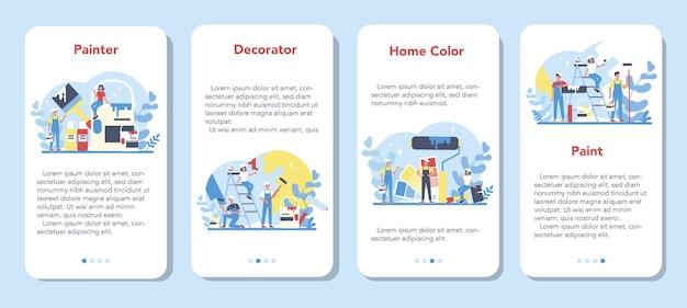 Pintor, decorador conjunto de banner de aplicativo móvel. pessoas de uniforme pintam a parede com rolo de pintura. conceito de processo de atualização e reparo. pessoa no trabalho.