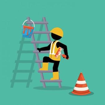 Pintor em escadas trabalhando