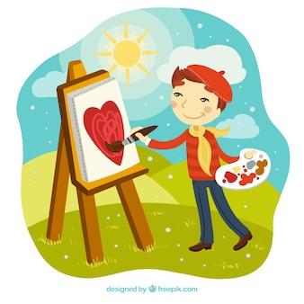 Pintor menino em uma paisagem