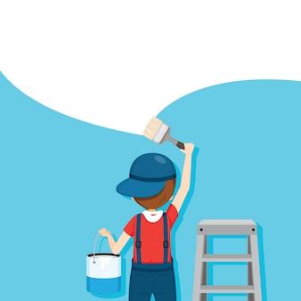 Pintor para colorir parede com pincel, pessoas ocupações