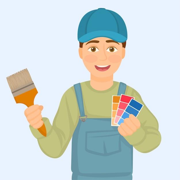 Pintor segurando amostras de cores e pincel