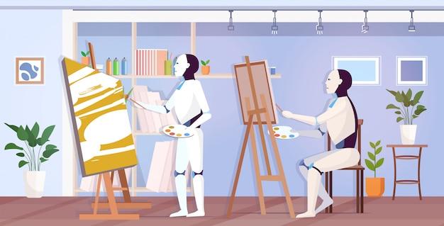 Pintores de robôs usando artistas robóticos de pincel e paleta na frente da criatividade da arte do cavalete