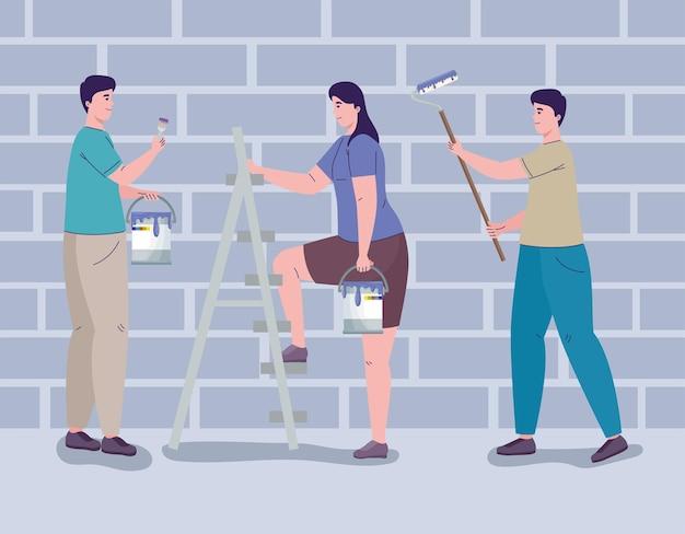 Pintores trabalhando e remodelando