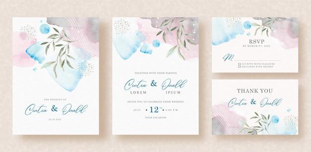 Pintura à mão de cores misturadas abstratas com formas florais no fundo do convite de casamento