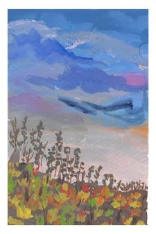 Pintura a mão de guache de paisagem