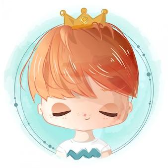 Pintura a mão estilo aquarela um garoto brilhante com um príncipe herdeiro