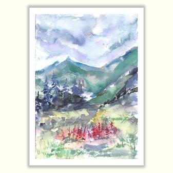 Pintura à mão paisagem de montanha com aquarela floral de jardim