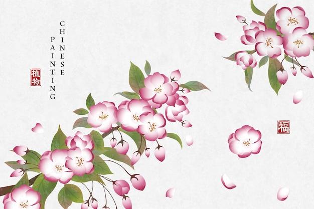 Pintura a tinta chinesa fundo arte planta elegante flor begônia