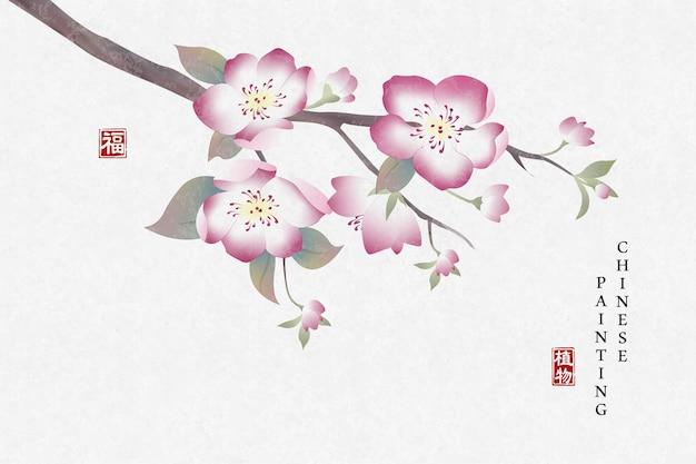 Pintura a tinta chinesa fundo arte planta elegante flor flor de pêssego