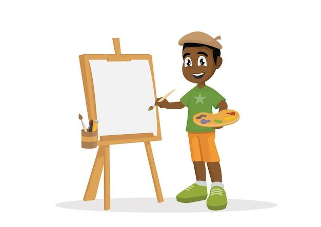 Pintura africana do menino do artista na lona.