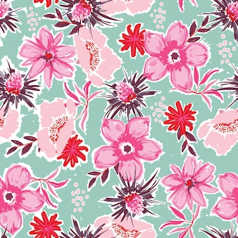 Pintura artística à mão padrões florais sem costura florescendo vetor de flor de jardim eps10, design para moda, tecido, têxtil, papel de parede, capa, web, embrulho e todas as impressões em verde claro hortelã