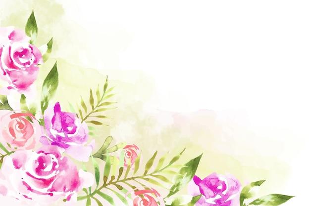 Pintura artística com papel de parede floral em aquarela