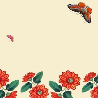 Pintura chinesa com flores e borboletas papel de parede