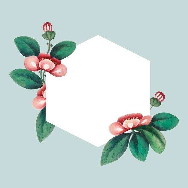 Pintura chinesa com quadro de hexágono em branco de flores