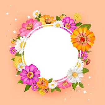 Pintura chinesa com vetor de quadro de círculo em branco de flores