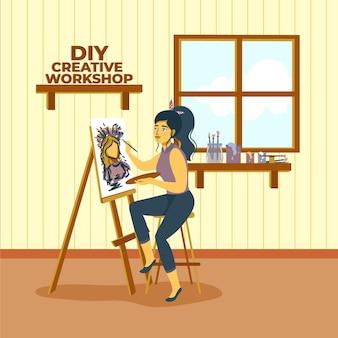 Pintura criativa da mulher da oficina de diy
