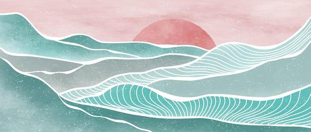 Pintura criativa minimalista moderna e impressão de arte de linha. ondas do oceano abstratas e paisagens estéticas contemporâneas de montanha. com mar, horizonte, onda
