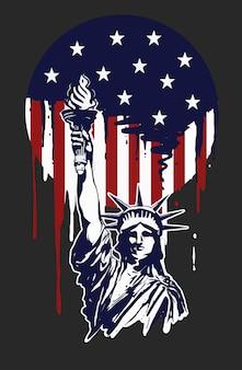 Pintura da liberdade para o dia da independência de américa