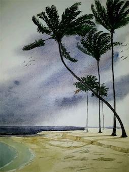 Pintura da natureza na margem do rio com ilustração em aquarela de árvore