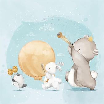 Pintura de animais em aquarela fofa celebração musical