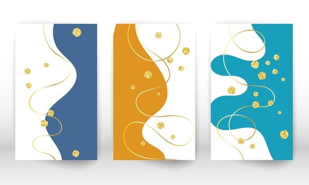 Pintura de arte moderna. conjunto de formas e linhas fluidas. formas líquidas pintadas à mão minimalistas, partículas de ouro. fundo de arte moderna.