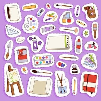 Pintura de artista ferramentas paleta ícone conjunto ilustração plana detalhes artigos de papelaria equipamentos de pintura criativa