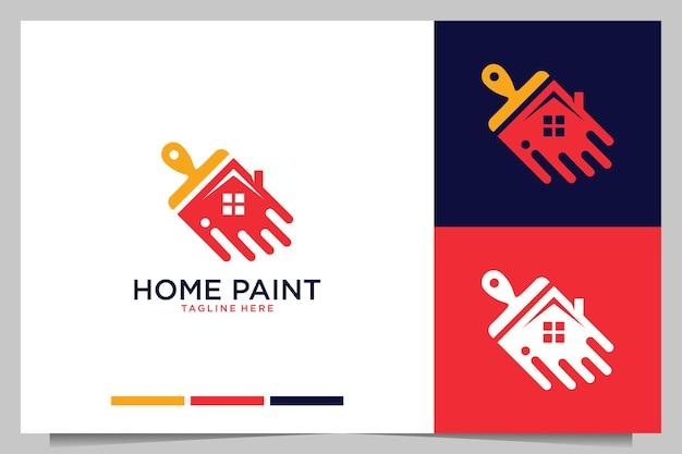 Pintura de casa com design moderno de logotipo