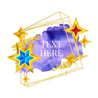 Pintura de moldura dourada pincelada de vetor de pintados à mão. design perfeito para manchete, logotipo e banner de venda. aquarela.