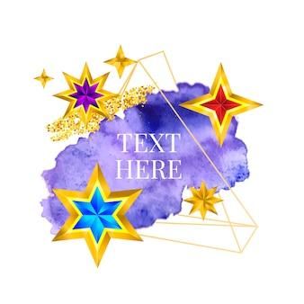 Pintura de moldura dourada pintada à mão com pincelada de design perfeito para logotipo de título e banner de venda