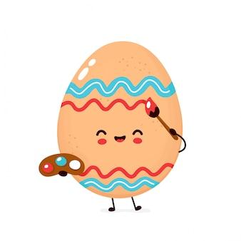 Pintura de ovo de galinha feliz bonito com pincel.