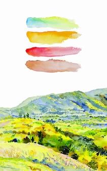 Pintura de paisagem em aquarela colorida da árvore da beleza natural da montanha na temporada de outono Vetor Premium