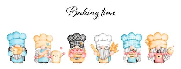 Pintura digital aquarela cartão de cumprimentos do little chef gnome baker gnome cooking gnome Vetor Premium