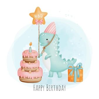 Pintura digital aquarela festa de aniversário de dinossauro