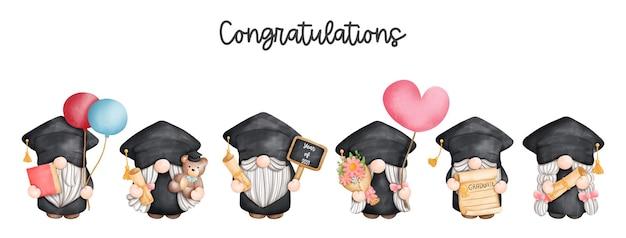 Pintura digital aquarela formatura gnomo banner formatura cartão de felicitações