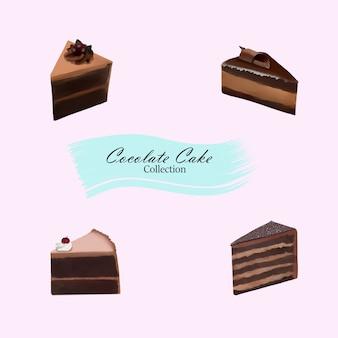 Pintura digital de coleção de bolo de chocolate