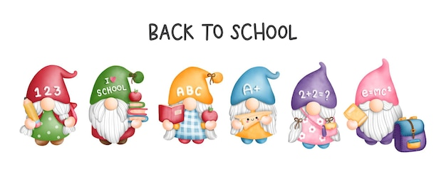 Pintura digital em aquarela de volta às aulas estudante de gnomo cartão de cumprimentos do gnome de volta às aulas