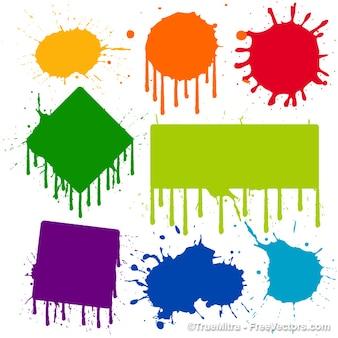 Pintura do gotejamento sinais coloridos definido