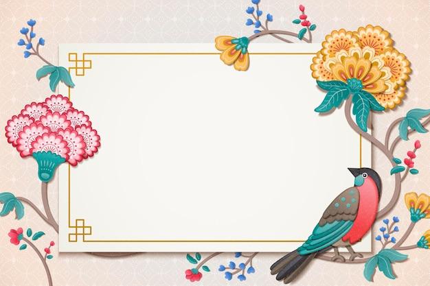 Pintura elegante de pássaros e flores em estilo de argila, papel de parede para uso em design