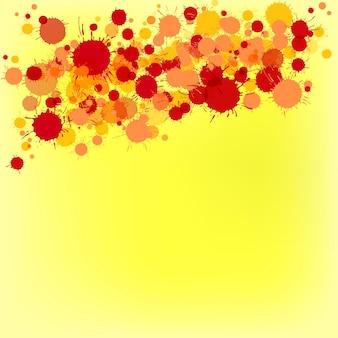 Pintura em aquarela artística de vetor vermelho e laranja brilhante cai sobre fundo amarelo. cartão de felicitações ou modelo de convite com lugar para texto