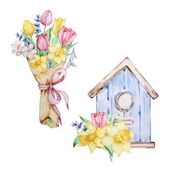 Pintura em aquarela, buquê de flores de primavera e gaiola com narcisos de tulipas e gotas de neve