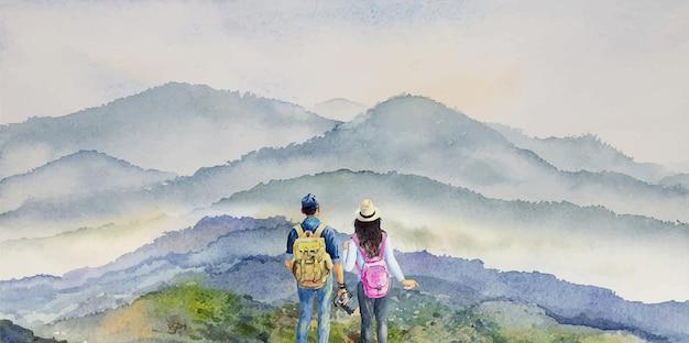 Pintura em aquarela casal viajando aventura na vista do topo da montanha com mochila como viajante