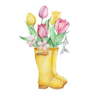 Pintura em aquarela com flores da primavera, botas de borracha amarelas com tulipas e flores de snowdrops