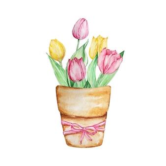 Pintura em aquarela com flores da primavera, vaso floral marrom com tulipas
