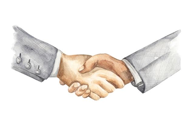 Pintura em aquarela de aperto de mão do empresário. conceito de parceria de negócios.